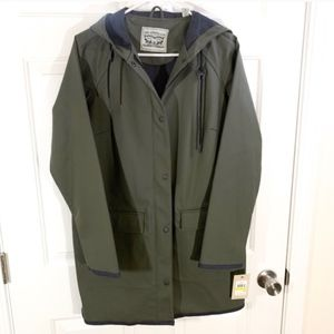 Levi's | olive green rubber button-down raincoat